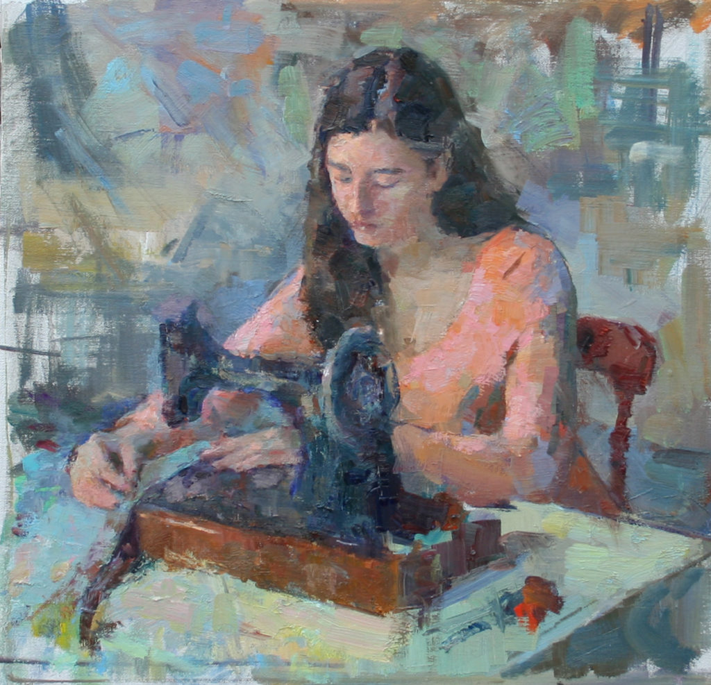 Girl Sewing. Oil on canvas.